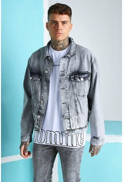Light grey grå MAN Official Homme Print Denim Jacket
