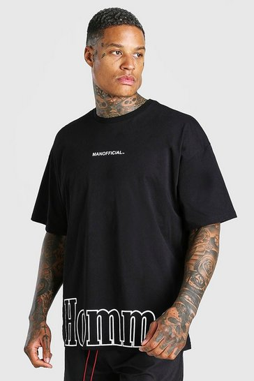 Black Oversized MAN Official Homme Print T-Shirt