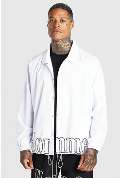 White MAN Official Homme Print Coach Jacket