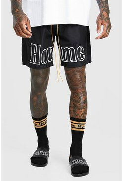 Black MAN Official Homme Print Shell Shorts