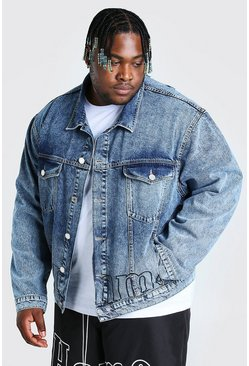 Light blue blue Plus Size MAN Homme Print Denim Jacket