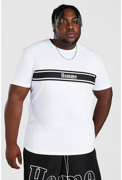 White Plus Size Homme Print T-Shirt