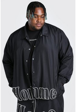 Black Plus Size MAN Homme Print Coach Jacket