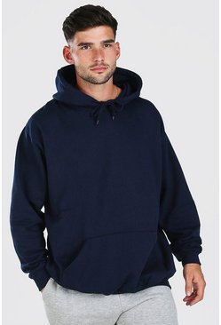 Navy Oversized Basic Over The Head Hoodie