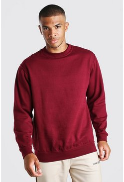 Burgundy red Basic Crew Neck Sweatshirt