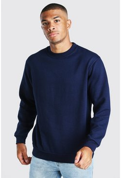 Navy Basic Crew Neck Sweatshirt