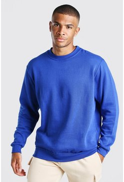 Blue Basic Crew Neck Sweatshirt