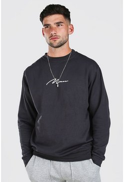 Charcoal MAN Signature Print Sweatshirt