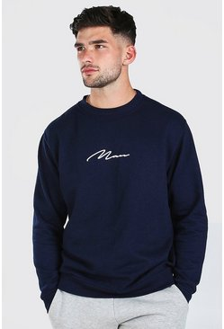 Navy MAN Signature Print Sweatshirt