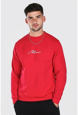 Sweat imprimé signature MAN, Rouge
