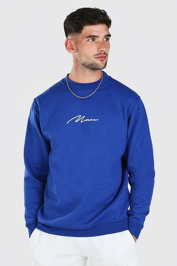 Blue MAN Signature Print Sweatshirt