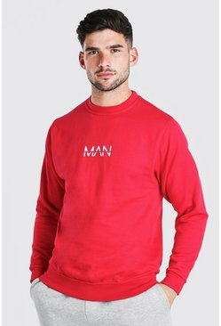Sweat imprimé MAN original, Rouge