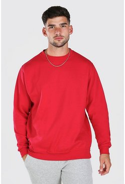 Red Oversized Basic Crew Neck Sweatshirt