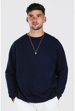 Navy Oversized Basic Crew Neck Sweatshirt