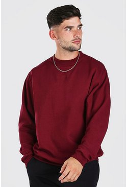 Burgundy Oversized Basic Crew Neck Sweatshirt