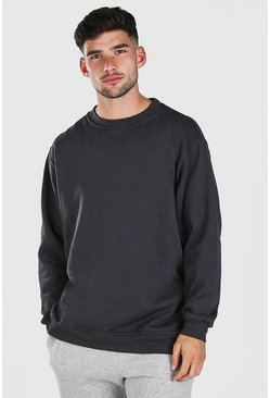 Charcoal Oversized Basic Crew Neck Sweatshirt