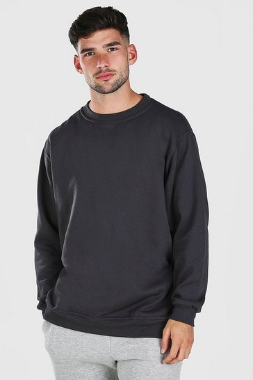 Charcoal grey Oversized Basic Crew Neck Sweatshirt