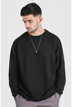 Black Oversized Basic Crew Neck Sweatshirt