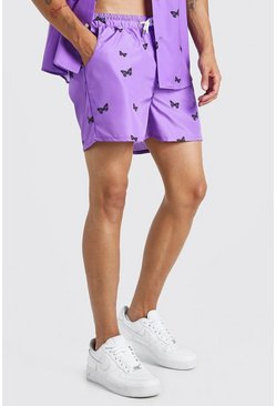 MAN Official Kurze Badeshorts mit Schmetterlings-Print, Flieder