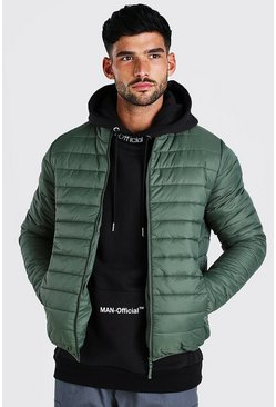 Olive Foldaway Padded Jacket With Bag