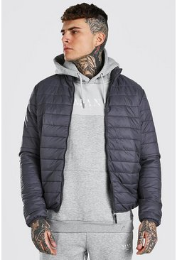 Dark grey grey Foldaway Padded Jacket With Bag
