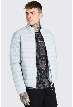 Light grey grey Foldaway Padded Jacket With Bag