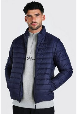 Navy Foldaway Padded Jacket With Bag