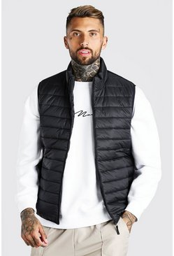 Black Man Dash Foldaway Padded Gilet With Bag