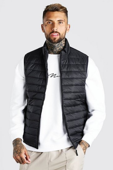 Black Foldaway Padded Gilet With Bag