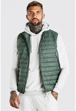 Olive green Man Dash Foldaway Padded Gilet With Bag