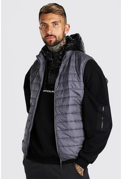 Dark grey grey Man Dash Foldaway Padded Gilet With Bag