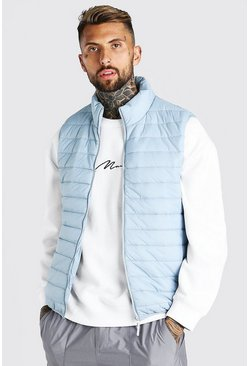 Light grey grey Foldaway Padded Gilet With Bag