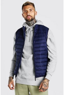 Navy Foldaway Padded Gilet With Bag