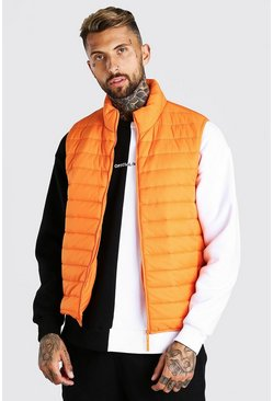 Orange Foldaway Padded Gilet With Bag