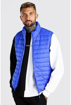 Cobalt blue Man Dash Foldaway Padded Gilet With Bag