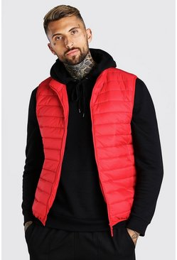 Red röd Foldaway Padded Gilet With Bag
