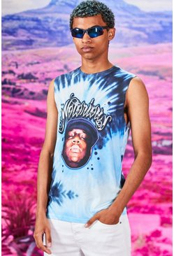 Blue blå Tie Dye Notorious Big License Drop Arm Tank