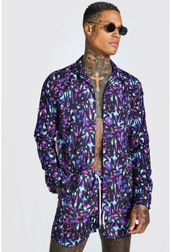 Multi MAN Long Sleeve Revere Collar Graffiti Print Shirt