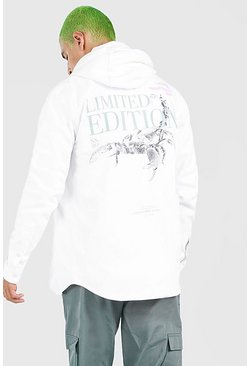 White vit MAN Scorpion Back Print Overshirt