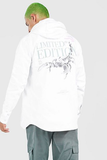 White MAN Scorpion Back Print Overshirt