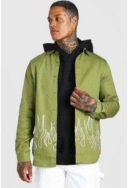Khaki Official MAN Graffiti Back Print Overshirt