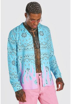 Aqua MAN Tab Long Sleeve Flame Hem Bandana Print Shirt