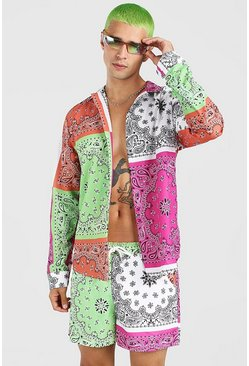Multi MAN Tab Long Sleeve Bandana Patchwork Shirt