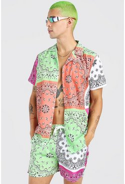 Multi MAN Tab Short Sleeve Bandana Patchwork Shirt