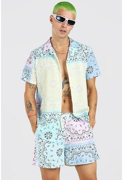 Multi Short Sleeve Bandana Patchwork Shirt