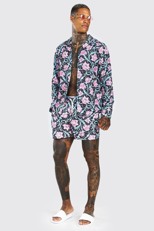 SETS Long Sleeve Floral Shirt & Short Set