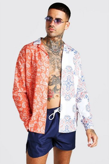 Multi Long Sleeve Spliced Paisley Shirt