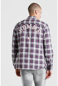 Black Check Shirt With Homme Back Print