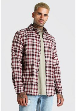 Beige Check Shirt With MAN Woven Tab