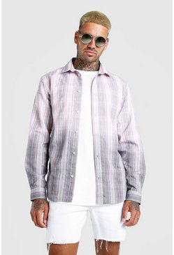 Pink Check Shirt With Ombre Hem